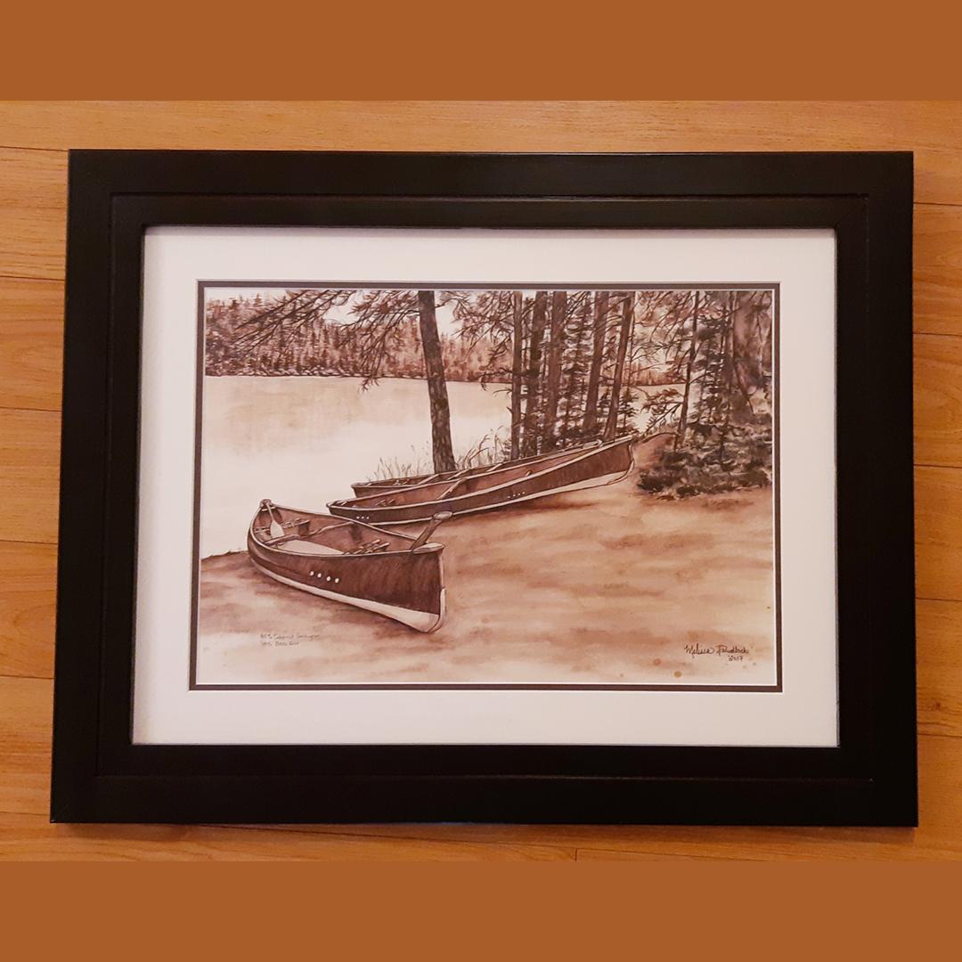 Joe Lake Original Wine Painting – Custom Framed